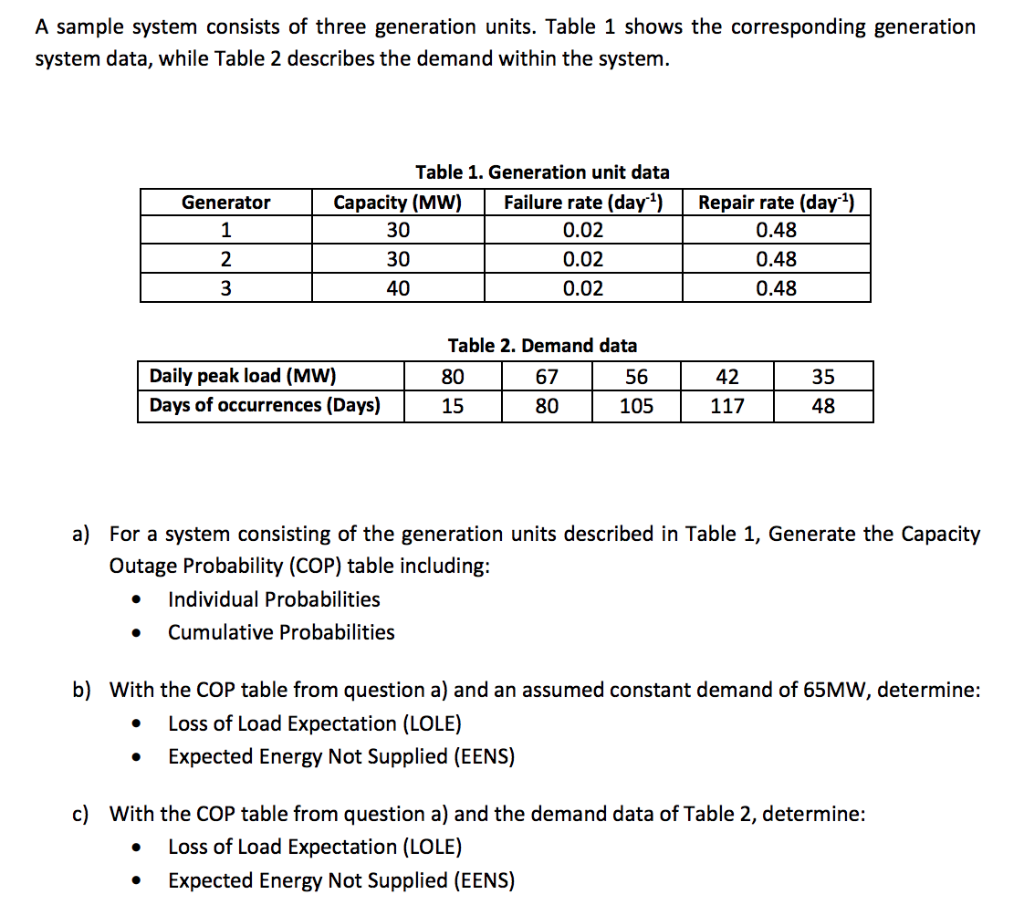 Solved: A Sample System Consists Of Three Generation Units