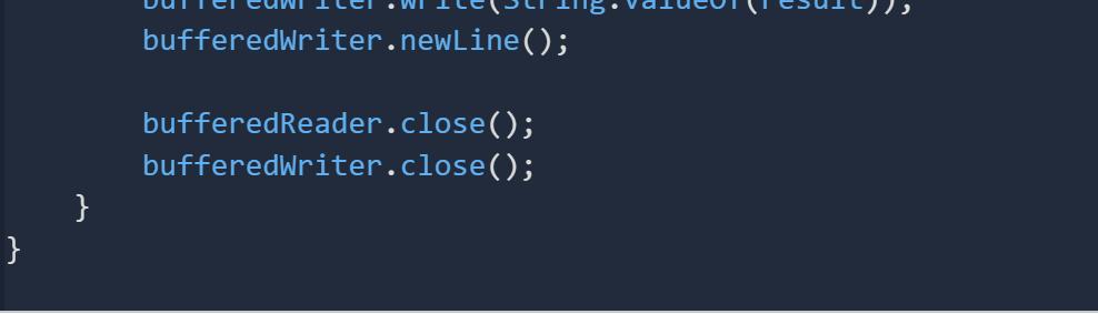 Dulei cuwi Ilel . WI Ileri18.valuCUTSUI bufferedWriter.newLine(); bufferedReader.close(); bufferedWriter.close();