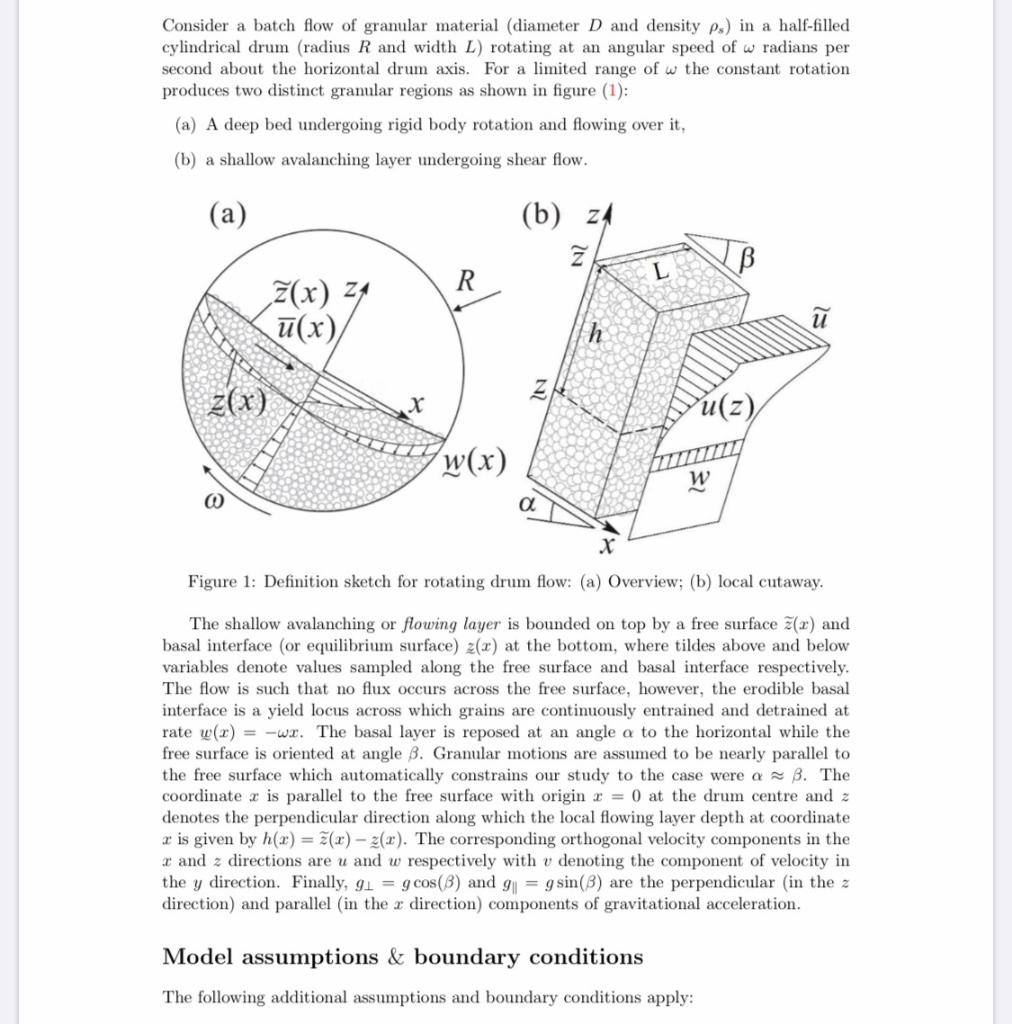 Consider A Batch Flow Of Granular Material Diamet Chegg Com
