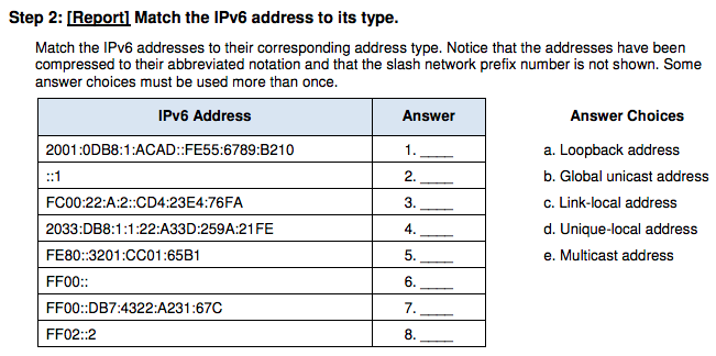 Step 2: [Report] Match the IPv6 address to its type. Match the IPv6 addresses to their corresponding address type. Notice tha