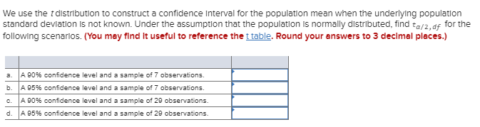 We use the t distribution to construct a confidence Interval for the population mean when the underlying population standard
