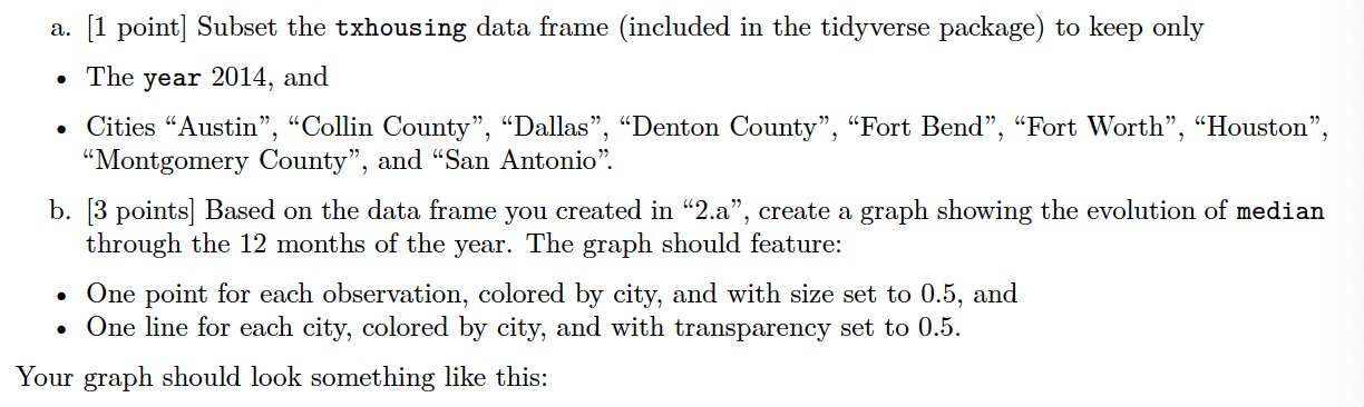 a.  Subset the txhousing data frame (included in the tidyverse package) to keep only • The year 2014, and • Cities ""