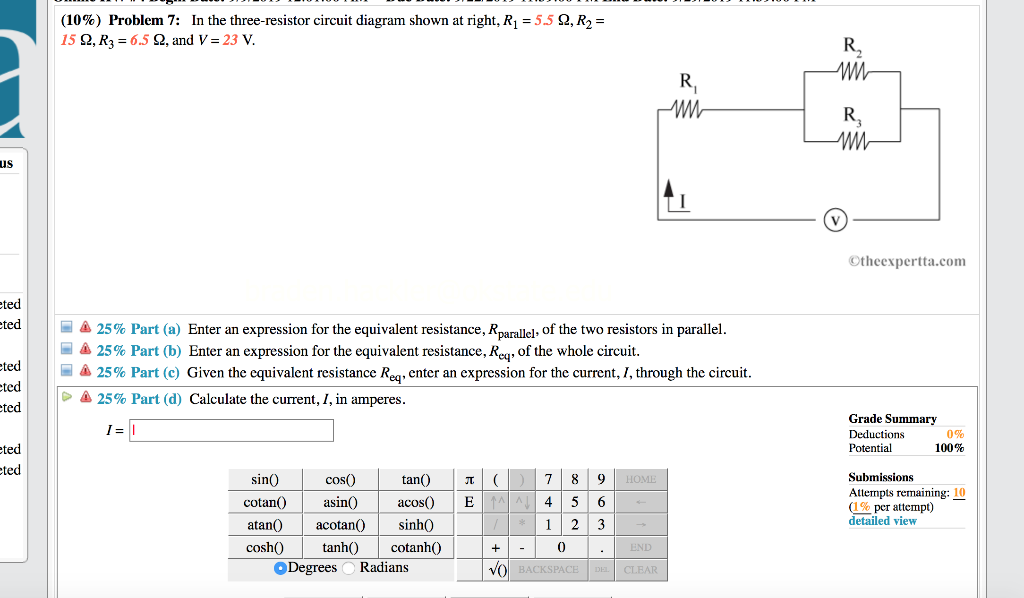 solved: (10%) problem 7: in the three-resistor circuit dia ... year 7 circuit diagrams  chegg