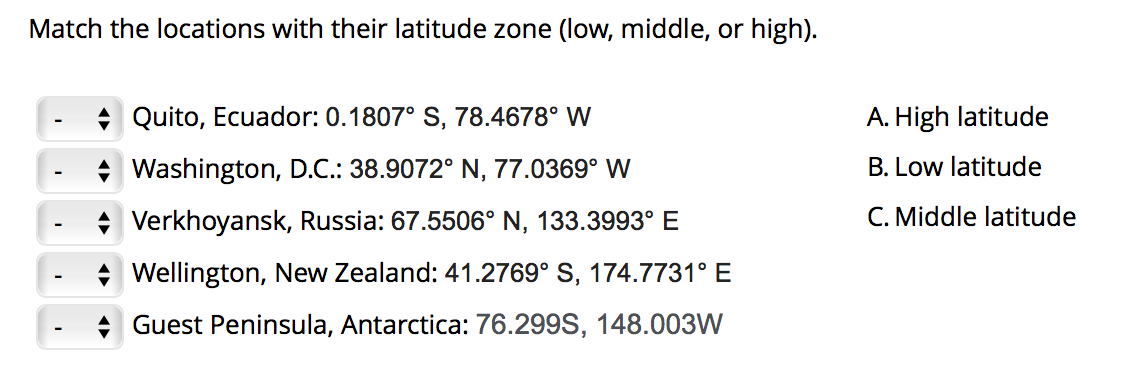 Match the locations with their latitude zone (low, middle, or high). A. High latitude B. Low latitude A Quito, Ecuador: 0.180