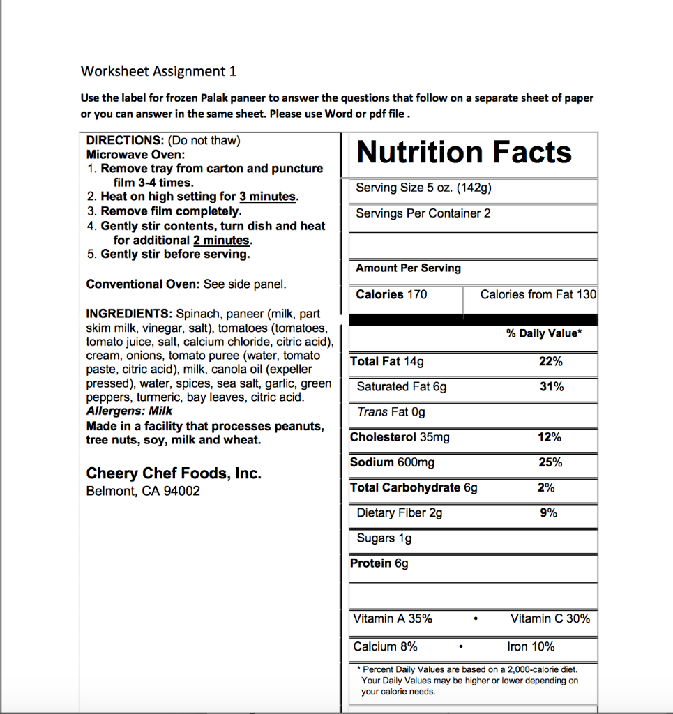 Solved What Is The Percent Of Calories Does Unsaturated F Chegg Com
