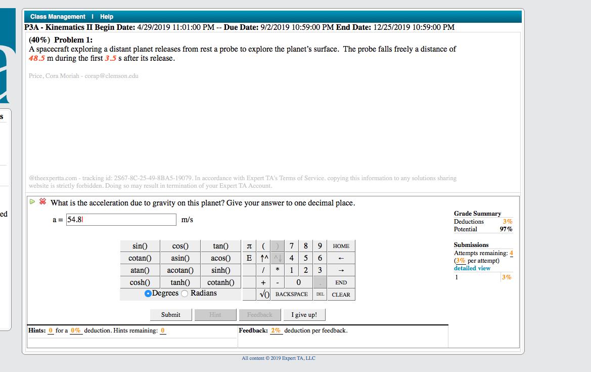 Solved: Class Management Help P3A- Kinematics II Begin Dat
