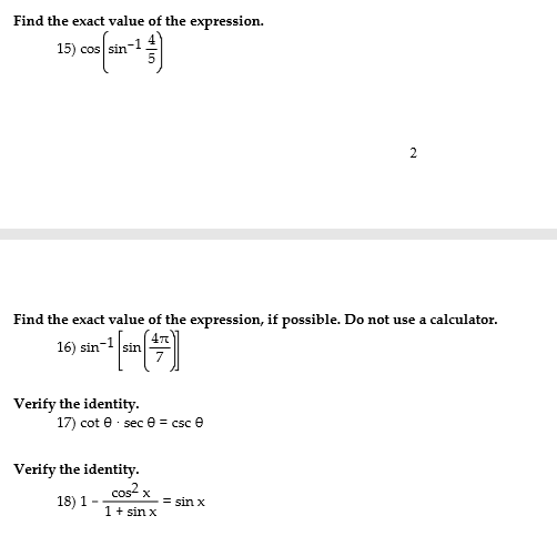 Find The Exact Value Of Expression