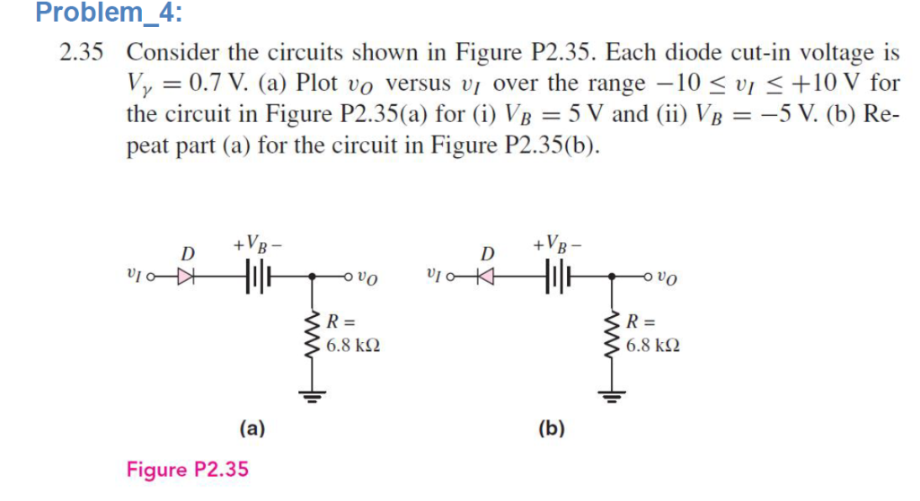 Problem_4: 2.35 Consider the circuits shown in Figure P2.35. Each diode cut-in voltage is Vy0.7 V. (a) Plot vo versus vi over