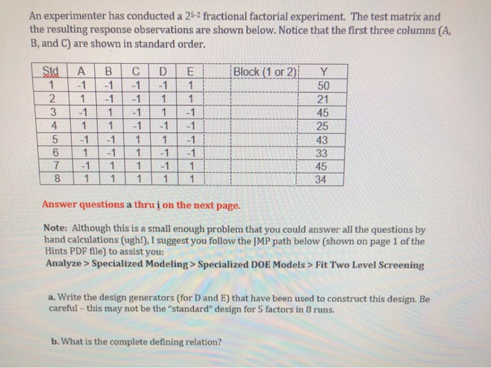 An Experimenter Has Conducted A 25-2 Fractional Fa
