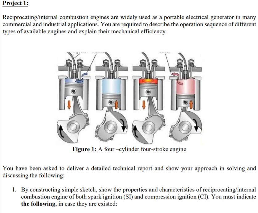 Solved: Project 1: Reciprocating/internal Combustion Engin...   Chegg.com   Reciprocating Engine Diagram      Chegg