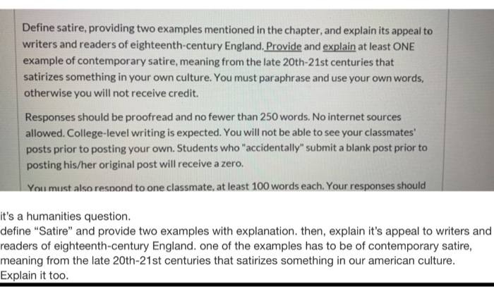 Solved Humanities Quastion And Please Follow The Rules In