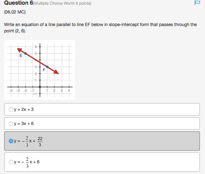 point slope form multiple choice questions  Solved: Question 13(Multiple Choice Worth 13 Points) (013.13 ...