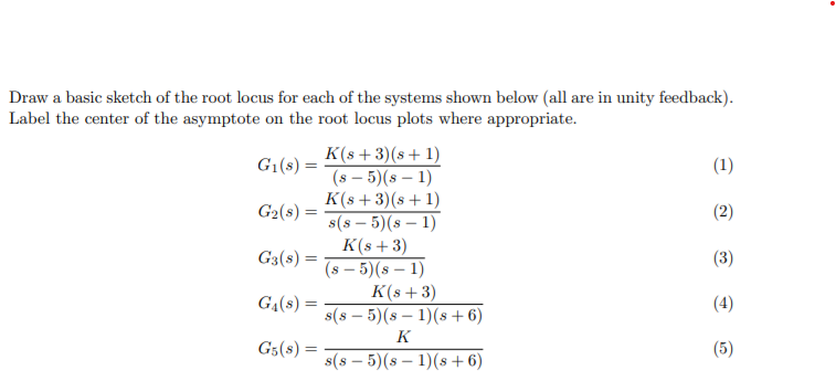Solved Draw A Basic Sketch Of The Root Locus For Each Of Chegg Com