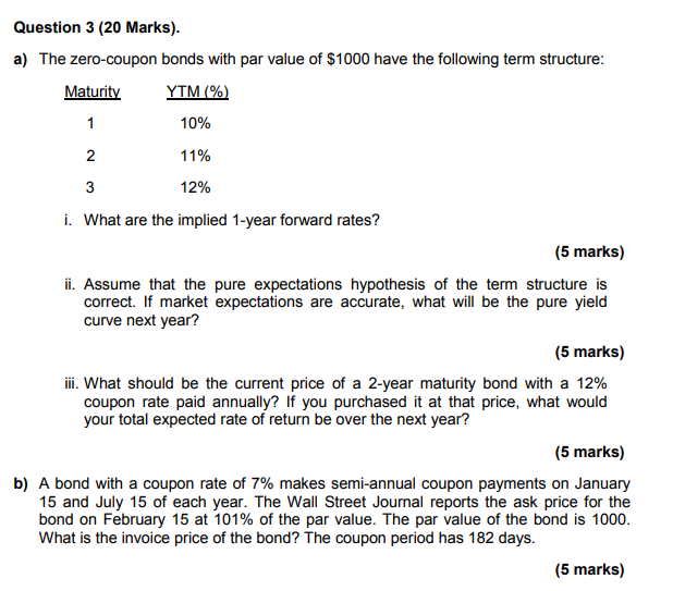 what is the price of 3-year zero coupon bond with a par value of $1 000