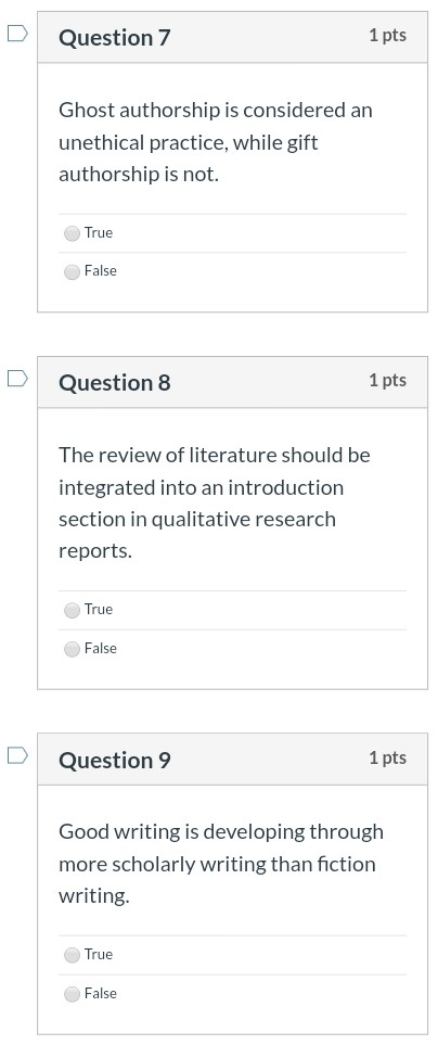 Solved: Question 7 1 Pts Ghost Authorship Is Considered An ...