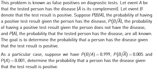 This problem is known as false positives on diagnostic tests. Let event A be that the tested person has the disease (A is its
