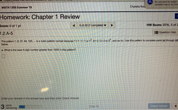 Solved: Homework: Chapter 1 Review Ut Save B M Score: 0 Of