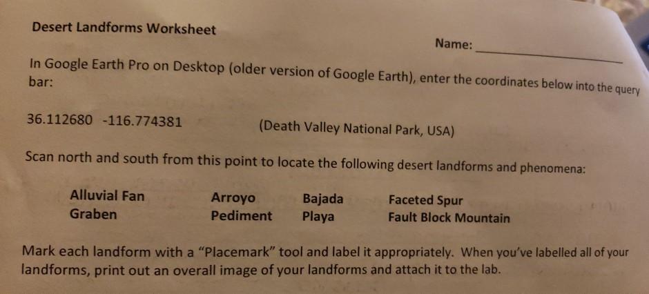 Solved: Desert Landforms Worksheet Name: In Google Earth P ...