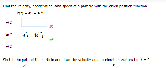 Find the velocity, acceleration, and speed of a particle with the given position function. r(t) = eti + et v(t) = a(t) = ei +