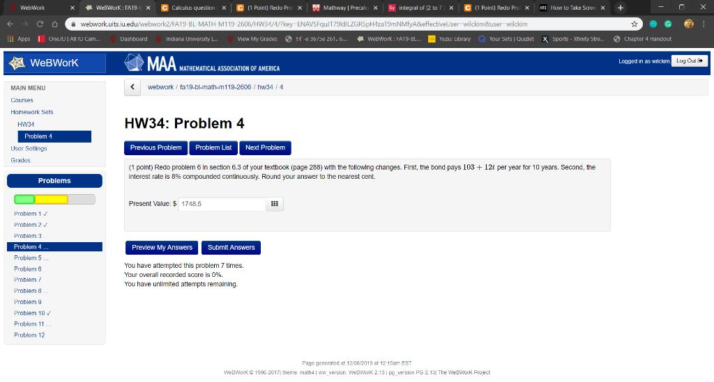 WebWork X WebWork : FA19-E X C Calculus Question X ... on