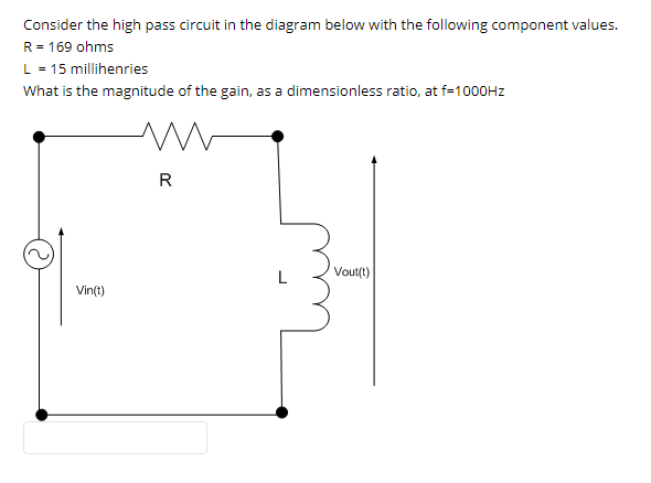 solved consider the high pass filter circuit in the diagr Basic Circuit Diagram