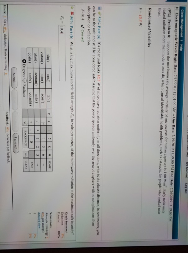 Solved: My Account Log Out Class Management I Help 10  Ele