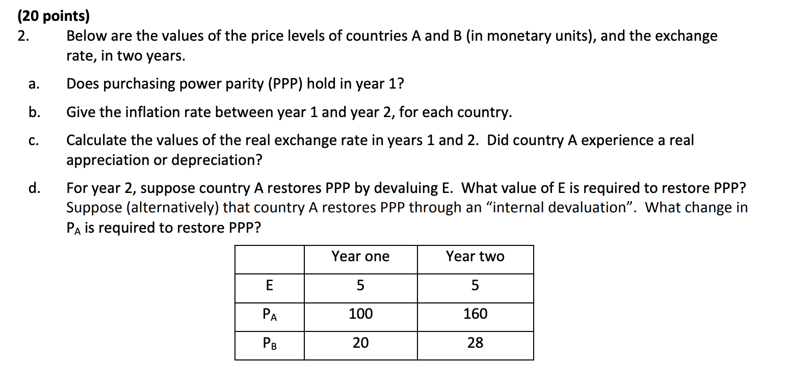 (20 points) 2. Below are the values of the price levels of countries A and B (in monetary units), and the exchange rate, in t