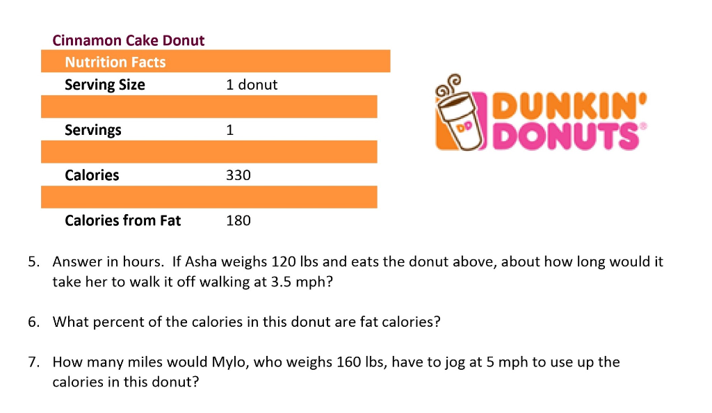 Solved Cinnamon Cake Donut Nutrition Facts Serving Size 1 Chegg Com