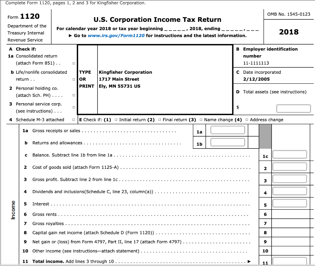 Complete Form 1120, Pages 1, 2 And 3 For Kingfishe