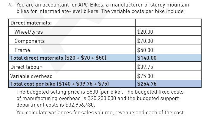 Solved: 4 You Are An Accountant For APC Bikes, A Manufactu