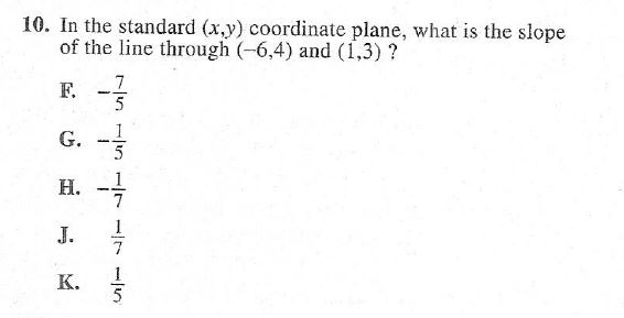 10. In the standard (x,y) coordinate plane, what is the slope of the line through (-6,4) and (1,3) ? wewe vir enim in