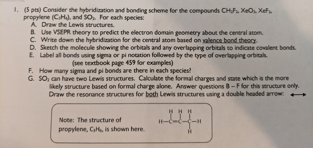Solved: 1. (5 Pts) Consider The Hybridization And Bonding ...