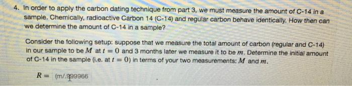 Carbon dating order