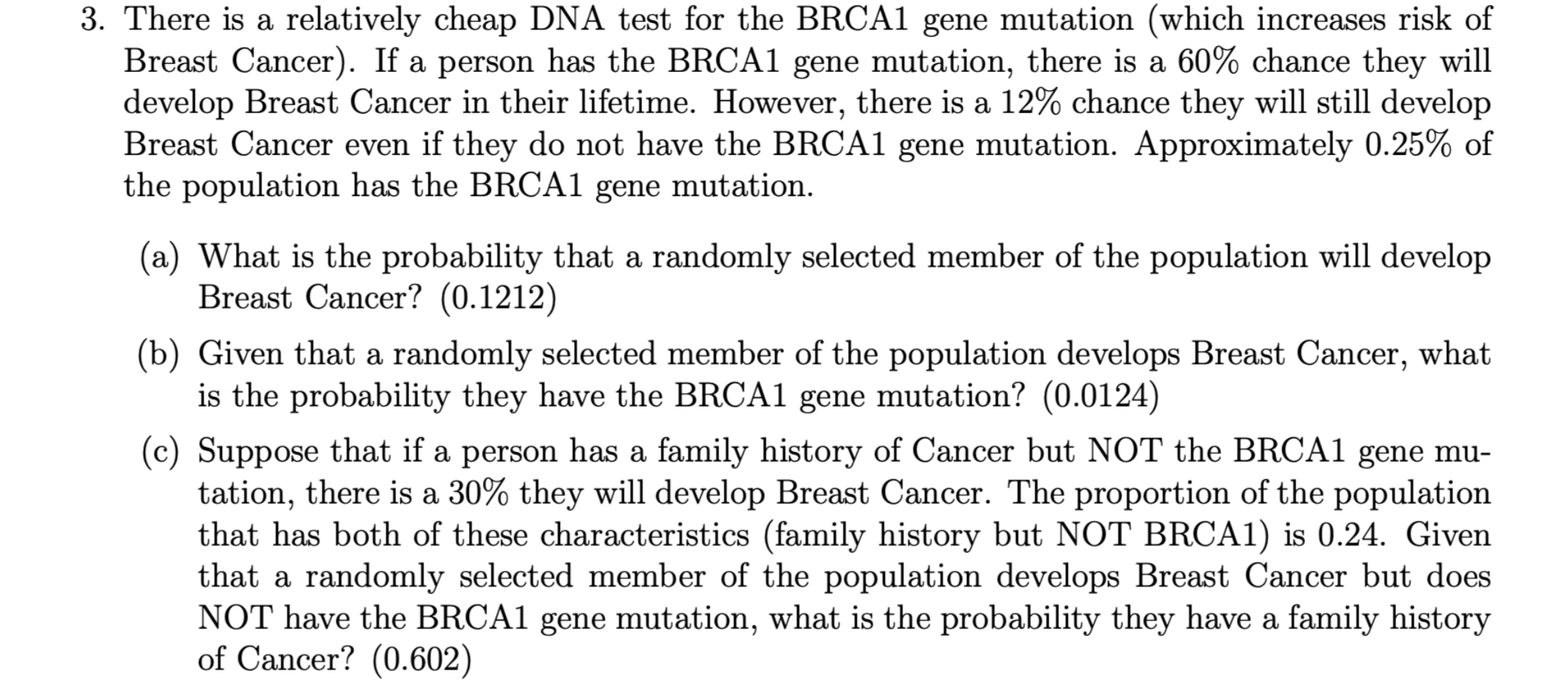 3. There is a relatively cheap DNA test for the BRCA1 gene mutation (which increases risk of Breast Cancer). If a person has