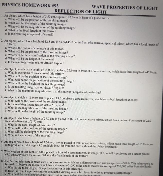 physics homework #93 reflection of light