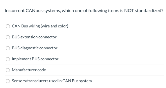 Solved: In Current CANbus Systems, Which One Of Following ... on