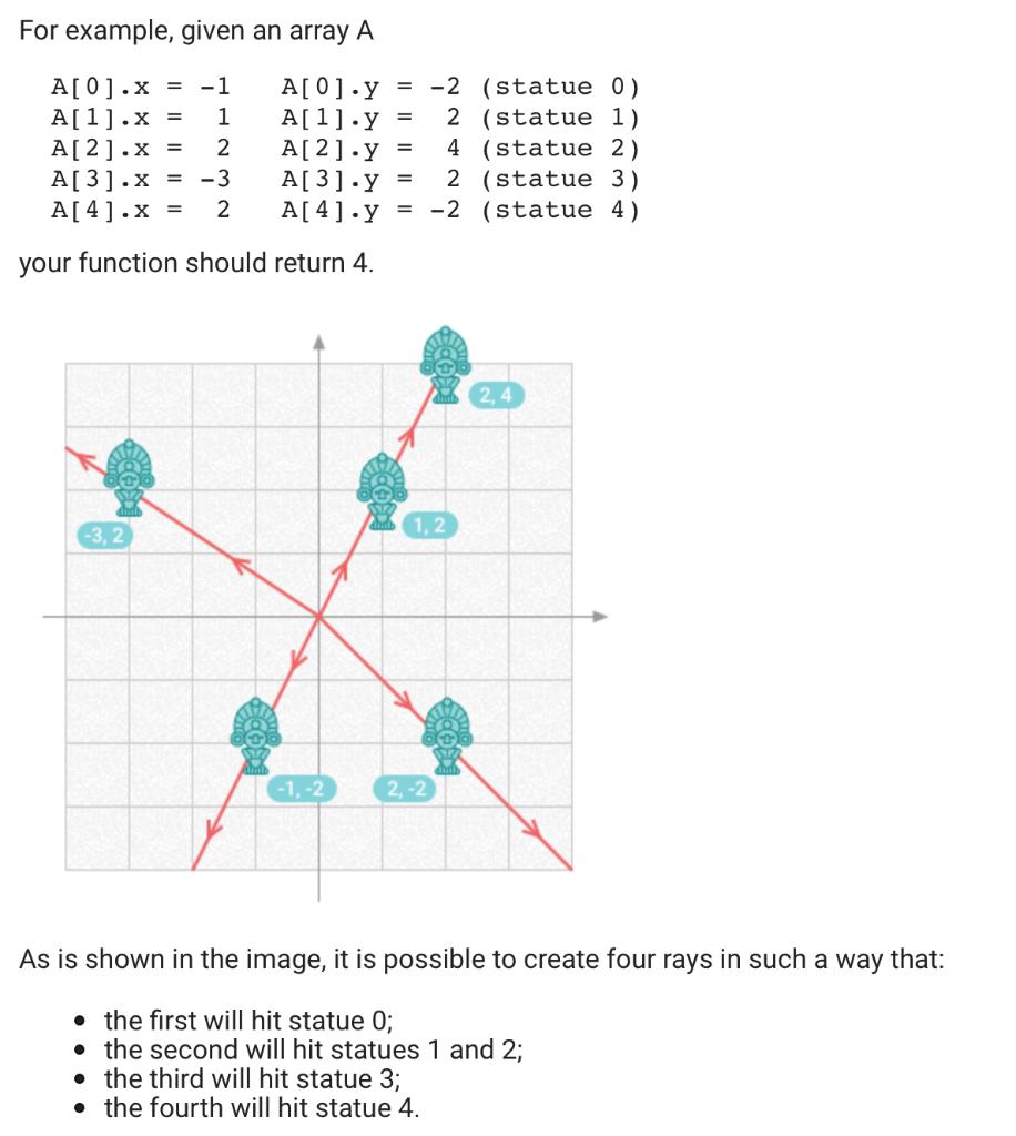 For example, given an array A A[ 0.y A[ 1.y A[2].y A[ 3].y = A[4] y = -2 (statue 0) 2 (statue 1) 4 statue 2) A[01.x A[1].x A[