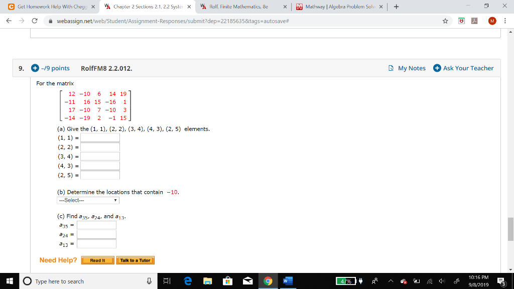 Solved: Chapler 2 Sections 2.1, 2.2 Syster X Mathway Algeb ... on