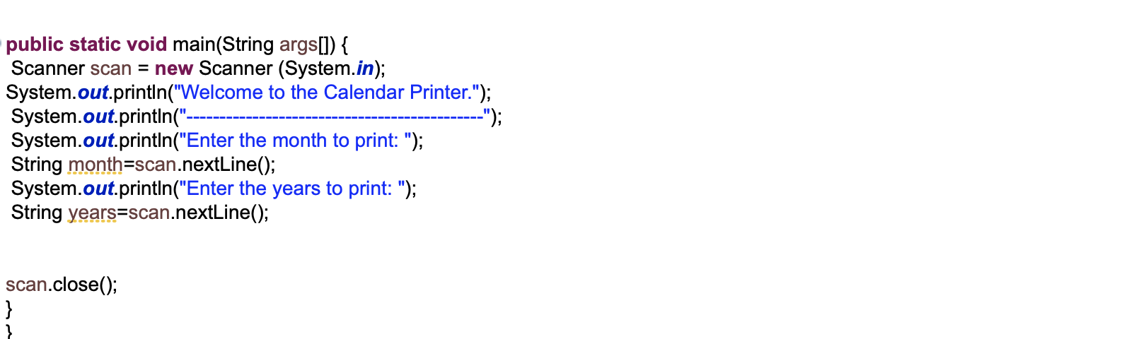 IN Java, We Need Two Class To Print The Gregorian