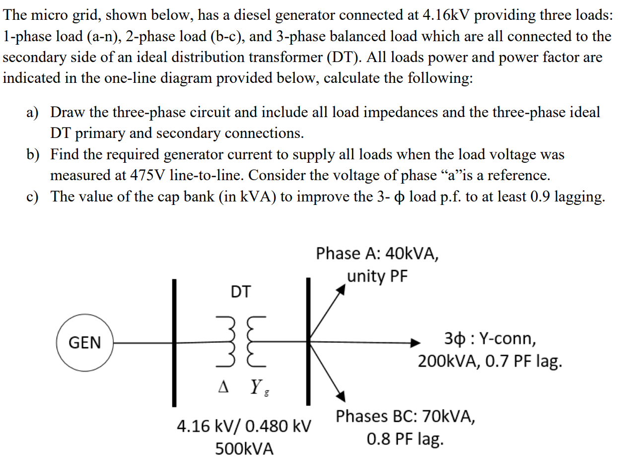 Solved The Micro Grid Shown Below Has A Diesel Generato Chegg Com
