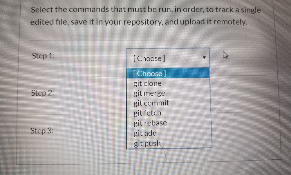 Solved: Select The Commands That Must Be Run, In Order To