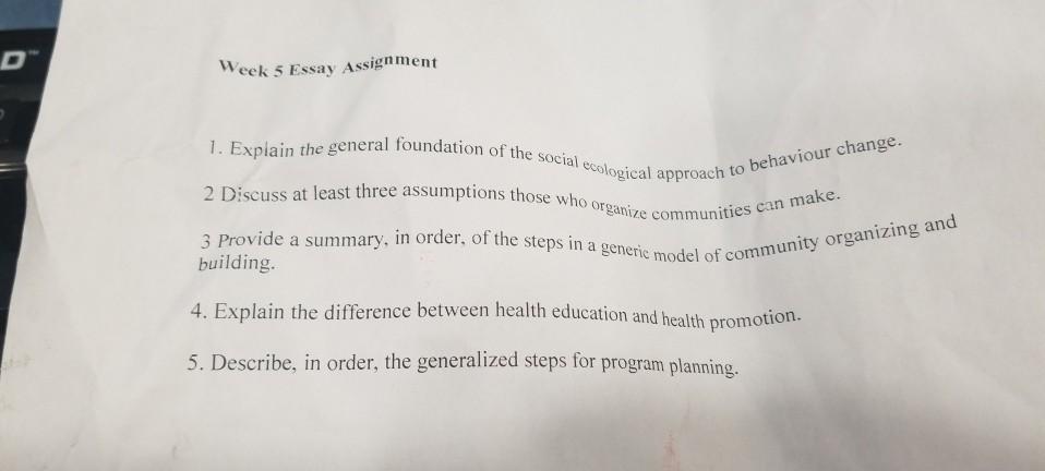 health promotion reflection essay
