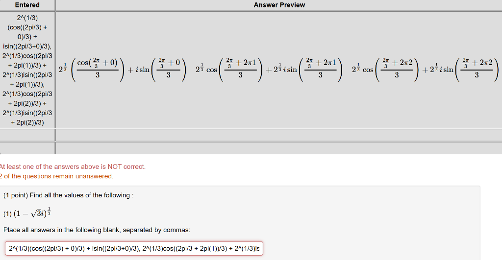 Solved Answer Preview Entered 2 1 3 Cos 2pi 3 Oy 3 Chegg Com