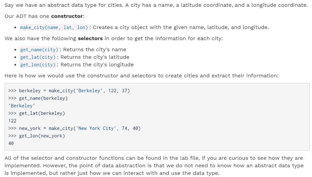 Solved: Say We Have An Abstract Data Type For Cities  A Ci