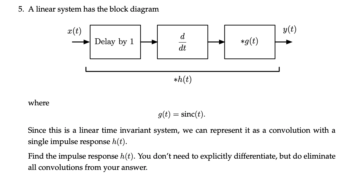 Solved: 5. A Linear System Has The Block Diagram Y(t) X(t)... | Chegg.comChegg