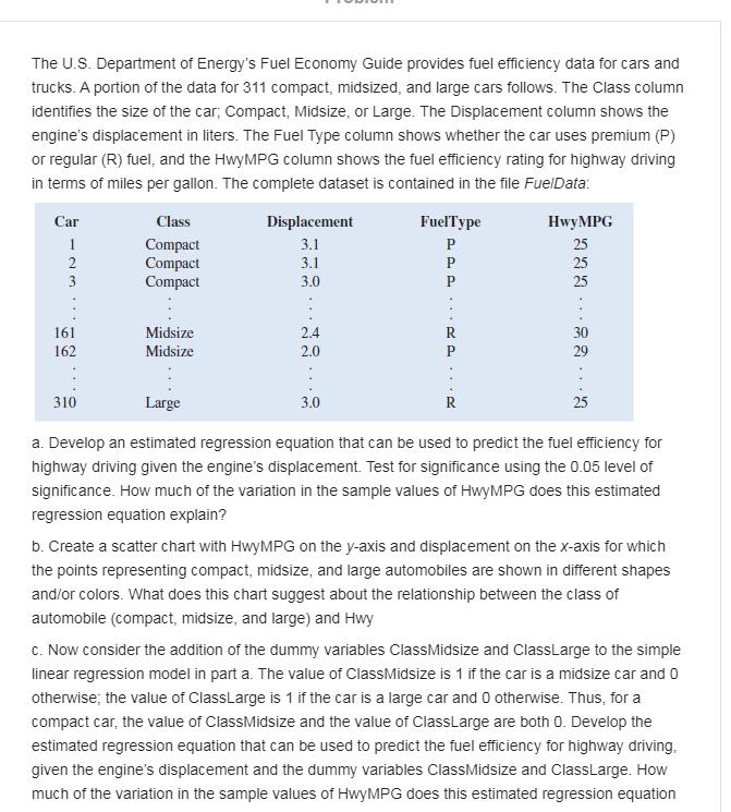 The U S Departmentof Energy S Fuel Economy Guide Chegg Com