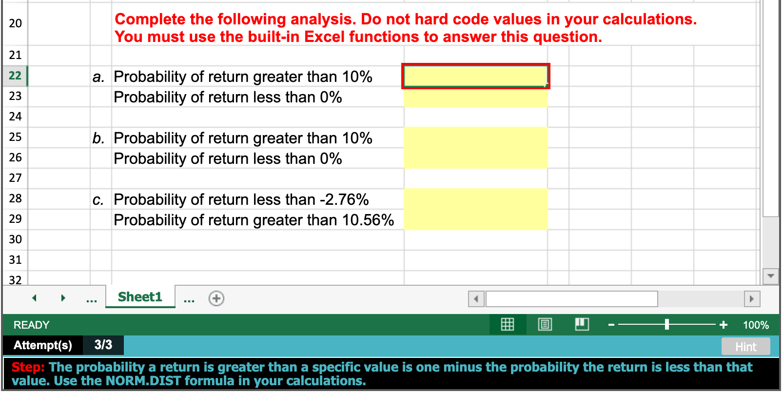Solved PLEASE ANSWER IN EXCEL FORM WITH EXACT CELL FORMUL ...