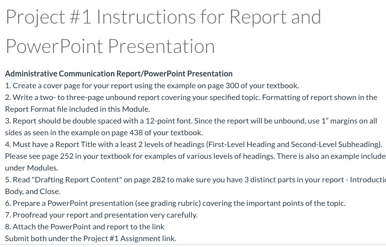 Solved Project 1 Instructions For Report And Powerpoint