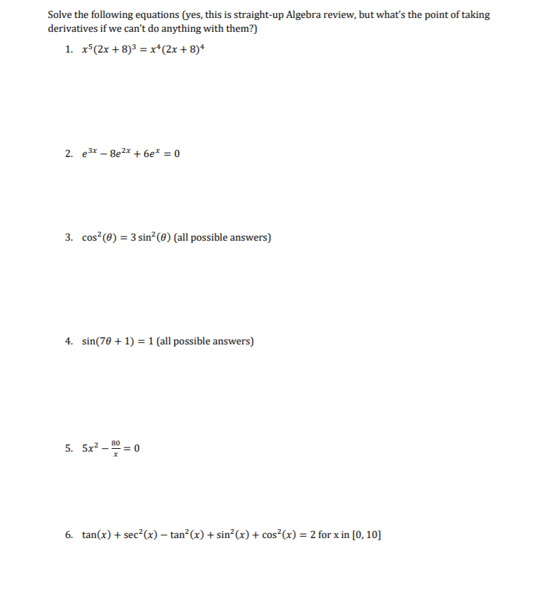 Solved: Solve The Following Equations (yes, This Is Straig