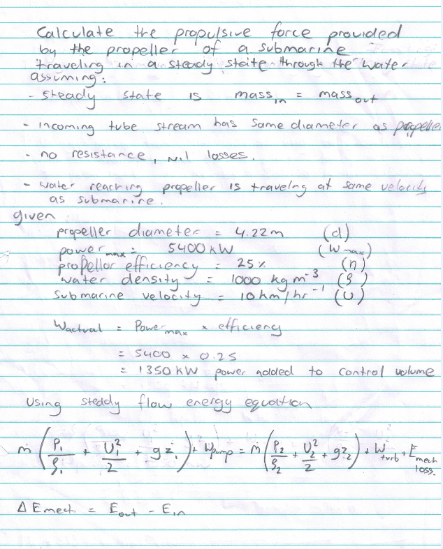 Calculate The Propulsive Force Provided By The Pro Chegg Com